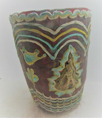 Very Rare Ancient Phoenician Mosaic Glass Vessel With Gold Gilded Fittings