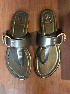 0895162fe Tory Burch Marsden Flat Thong Calf Leather Sandal Size 6 Black New with Box