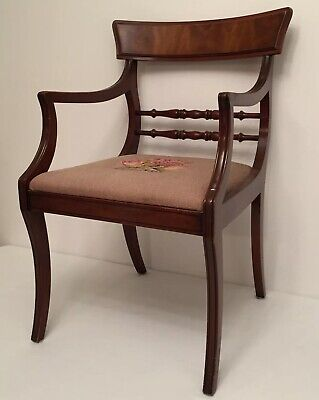 Antique Needlepoint Arm Chair Dramatic Old Statement Piece Wood FURNITURE Rose