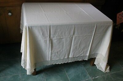 """Ivory Linen Tableloth With 3"""" Lace 84""""X68"""""""