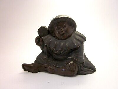 Antique Late 19th Century Asian Chinese Baby Boy with Rattle Bronze Figural Ink