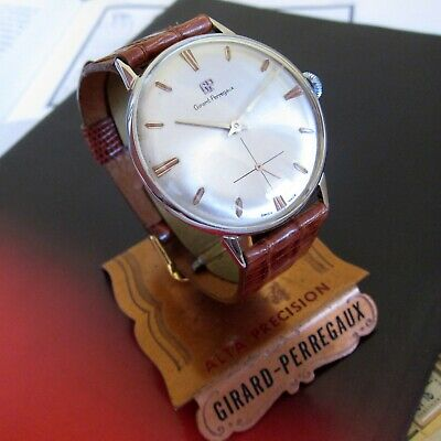 Vintage Girard Perregaux watch Swiss Made 1950s, SILVER DIAL Classic 17 JEWELS,