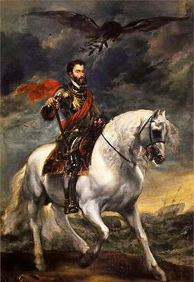"""Oil painting Anthony van dyck - Equestrian portrait of the Emperor Charles V 36"""""""