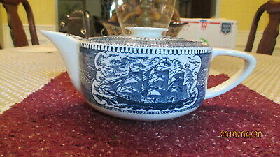 Currier And Ives Teapot Lighthouse On Lid Scroll On Spout