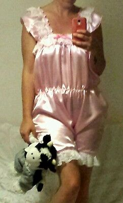 Adult Baby Sissy Frilly satin shorts playsuit Romper lace fancy dress cosplay