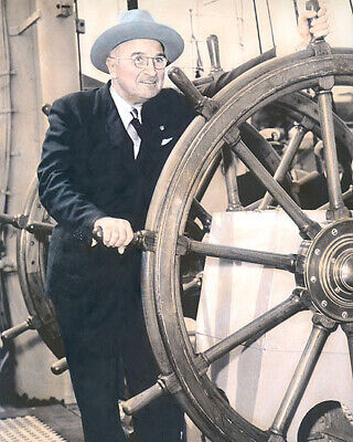 "PRESIDENT HARRY S TRUMAN 33rd US PRESIDENT 8x10"" HAND COLOR TINTED PHOTOGRAPH"