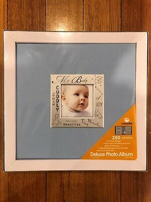 Brand New Blue Deluxe Photo Album Baby Boy Holds 200 6 x 4 Photo's