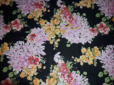Floral print rectangular tablecloth, black w/large floral print, great condition