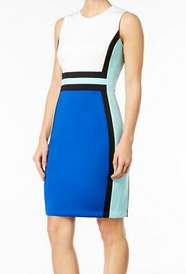 8d5386b9 Calvin Klein NEW Blue Womens Size 8P Petite Colorblocked Sheath Dress $89  417
