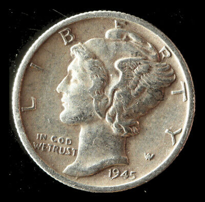 1945-S Mercury 90% Silver Dime Buy 3 get xtra Silver Coin. Ships Free NR