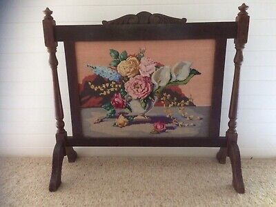 Antique Wood And Beautiful Tapestry Floral Fire screen.