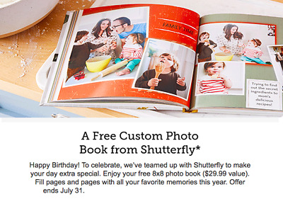 Shutterfly 8X8 Hard Cover Photo Book Code expires 7/31/19
