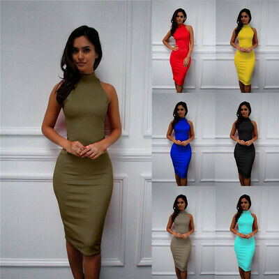 Womens Sleeveless Plain High Neck Pencil Bodycon Club Ladies Slim Midi Dress