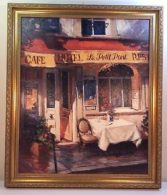 Beautiful Cafe Oil Painting On Canvas ( Singed )