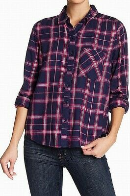 8e643cb3 Abound NEW Blue Pink Womens Size XXS Plaid Print Button Down Shirt $25 203