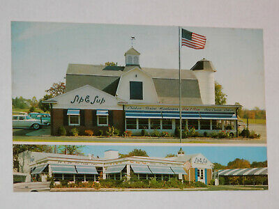 SPRINGFIELD NJ - RARE OLD POSTCARD SIP and SUP DRIVE-IN RESTAURANT MORRIS PLAINS