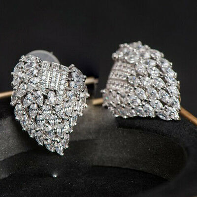1pair Fashion  White Sapphire Long Ear Stud 925 Silver Filled lovers earrings