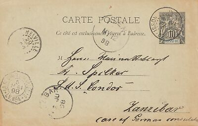 French colonies Nossi-be: post card 1898 to Zanzibar