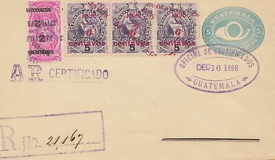 Guatemala: 1898: Registered prepared with invert overprint