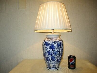 Large Vintage Blue And White Chinese Porcelain Table Lamp With Vintage Shade
