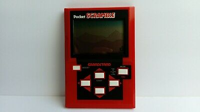 1982 Vintage Grandstand Pocket Scramble LCD Handheld Electronic Arcade Game Box