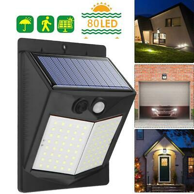 80LED Solar Power Light PIR Motion Sensor Security Outdoor Garden Yard Wall Lamp