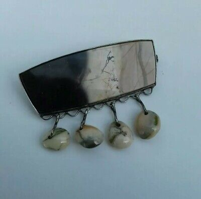 Vintage Russian ?, 875 Silver Polished Agate/stone Brooch, Nice Hallmarks.