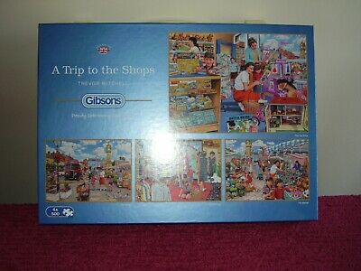 Gibsons A Trip To The Shops 4 X 500 Piece Jigsaw Puzzle Complete