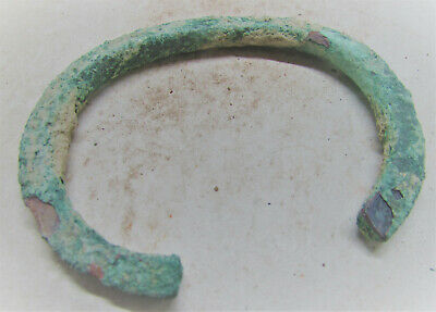 Circa 200Bc-200Ad Ancient Bactrian Bronze Bracelet Authentic Artefact