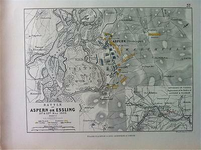 Map, Battle Plan ASPERN Sheet 2 c1809, Napoleonic War, Engraved A K Johnston