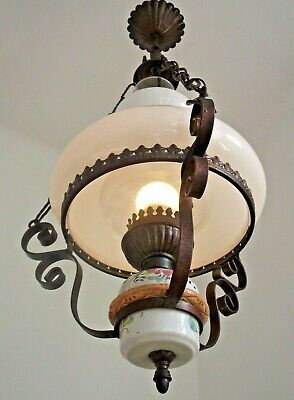 Large French Country Ceiling Light White Glass Shade Metal Frame Floral Base1148