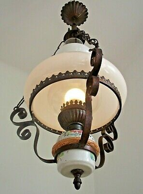 Large French Country Lantern White Glass Shade Metal Frame Floral Finial 1149