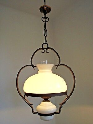 Old French Country Style Iron Ceiling Lantern Milk Glass Shade Base & Funnel 983