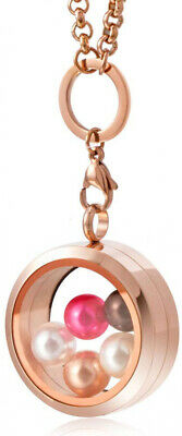 CAPTTE High-Capacity Pearl Cage Pendant Necklace - 30mm Pearl Floating Locket 5
