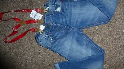 Bnwt Next Girls 5-6 Years Denim Jeans Trouser Removable Penguin Christmas Braces