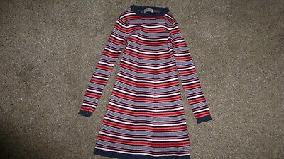 New Next Girls 5-6 Years Red Black Pink Stripped Long Sleeves Dress Cotton Blend