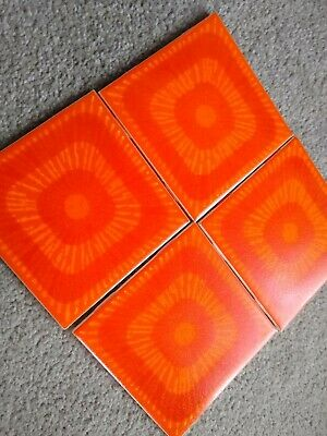 New Old 1970's Retro Vintage Tangerine Funky Patterned Tiles by H&R Johnson 16no