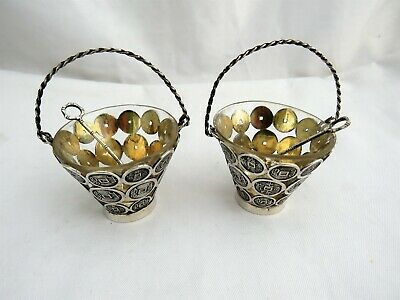 Pair Ofvictorian  Chinese Export  Silver Baskets / Salts By Tien Shing 1880's