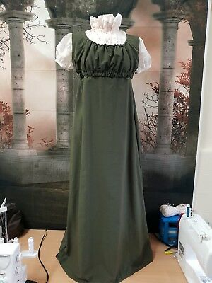 Regency Style Dark Olive Pinafore Gown With Chemisette.