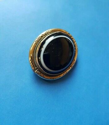 Antique Victorian Pinchbeck Gold Bulls Eye Agate Brooch