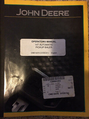 OPERATORS SERVICE MANUAL For John Deere 14T Hay Baler Knotter