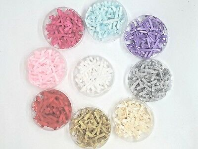 MIC Tub of 36 Fabric Mini Bow Embellishments Various Colours - Card Making Craft