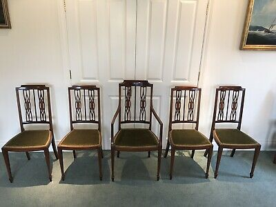 "5 Edwardian Antique Dining chairs - Inlaid Marquetry, Spade Feet ""REDUCED"""