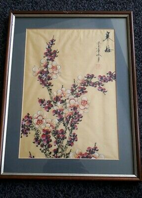 LARGE VINTAGE CHINESE PAINTING ON SILK. Blossom. SIGNED