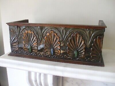 Rare Arts & Crafts Copper Pewter & Ruskin Pottery Wooden Book Trough - LIBERTY?