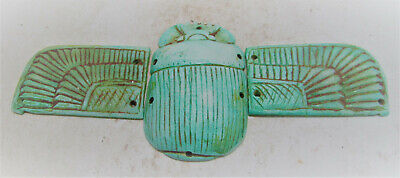 Scarce Circa 664-332Bc Ancient Egyptian Glazed Faience Winged Scarab Heiroglyphi