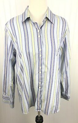 Talbots Blouse Top Womens Sz 16 Purple Striped Button Long Sleeve Casual Stretch