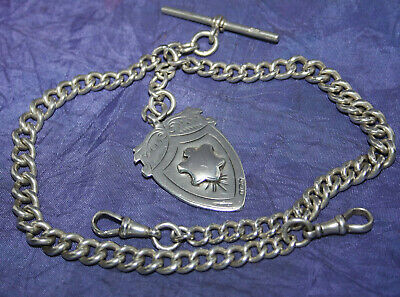ANTIQUE HEAVY 67g SOLID SILVER DOUBLE ALBERT+LARGE FOB by B BRITTON~CHESTER 1919