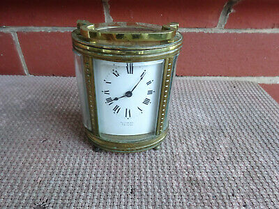 Victorian Oval Brass Carriage Clock C1900 Lion Loc0