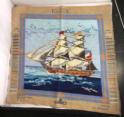Vintage Completed Needlepoint Embroidery DMC Sailing Ship Make in to Cushion